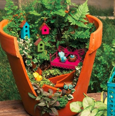 Cracked Flower Pot Fairy Gardens Fairy Garden Diy Fairy Garden