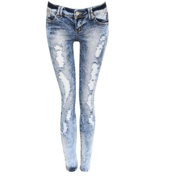 Pilot Kayleigh Acid Wash Ripped Skinny Jeans in Denim (€37) ❤ liked on Polyvore featuring jeans, pants, bottoms, calças, destroyed denim jeans, distressed denim jeans, slim fit skinny jeans, ripped skinny jeans and ripped denim jeans