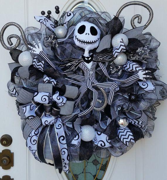 Jack Skellington Wreath Nightmare Before by ProudToHangWreaths