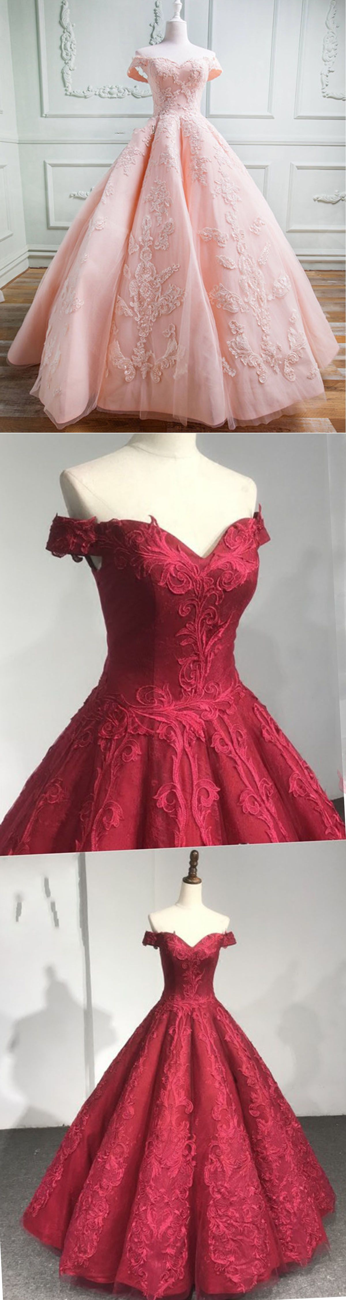 Lace prom dresses elegant off shoulder long poofy prom dress for