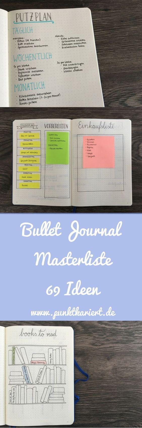 Die Masterliste: 69 Ideen für dein Bullet Journal #bulletjournaling