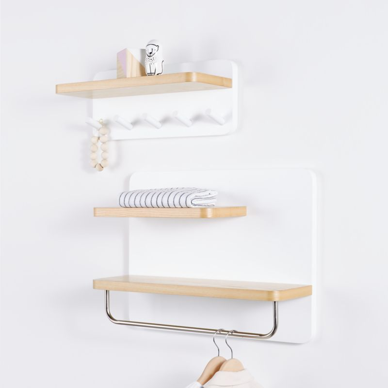White And Natural Wood Shelf With Hooks Reviews Crate And Barrel In 2020 Wood Shelves Wall Cubbies Kids Shelves