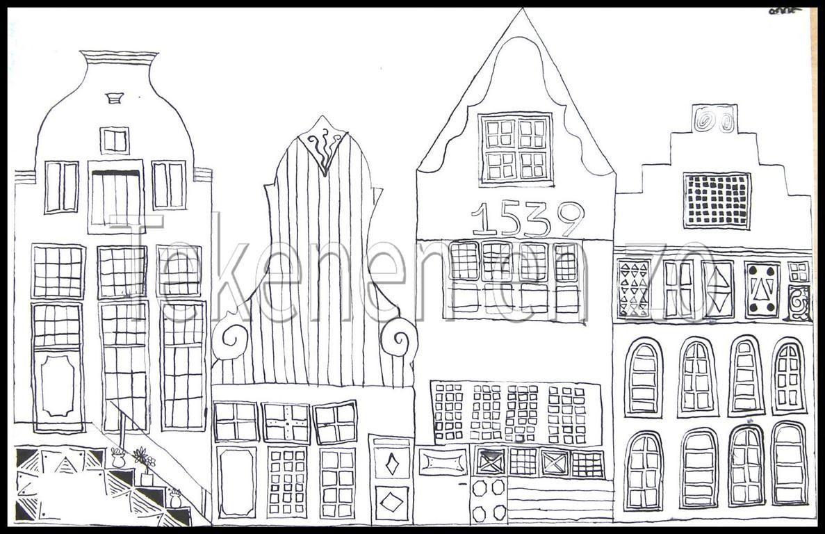Tekenen en zo oost indische inkt grachtenpanden en pak for Huizen tekenen