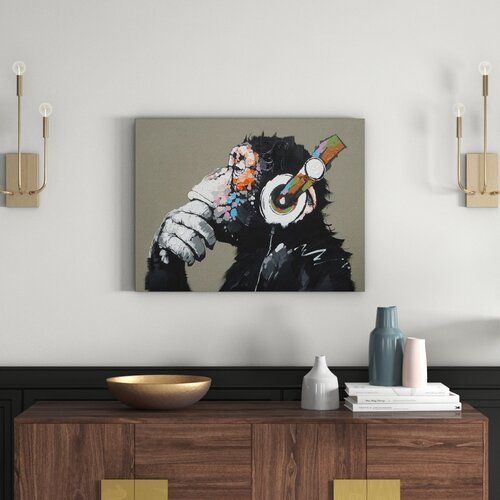 Leinwandbild Affe Mit Kopfhorer East Urban Home In 2020 Canvas