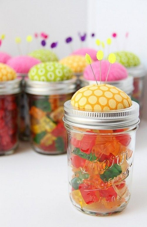 23 Diy Birthday Gift Ideas Pin Cushion Jars Fill With Ons Notions Or Candy
