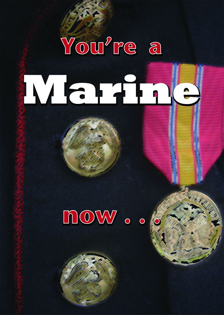 A Marine now graduation greeting card for Marines