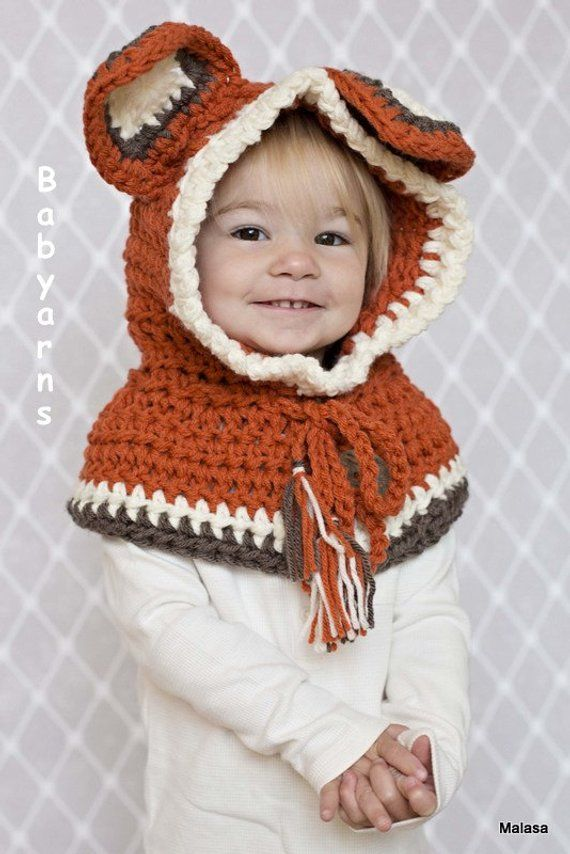 ec80352eecb Fox Hood Scarf   Bear Cowl Hat   Fox Bear Knit HOODIE Scarf   Toddler Kids  Animal Hat   Gift Fall Wi
