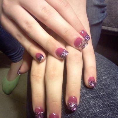 purple glitter and burgundyacrylic nails done by me on August