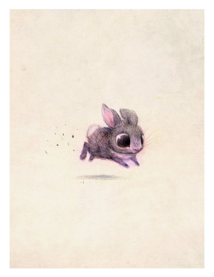 art by syndney hanson 8x10 bunny print on felted paper by