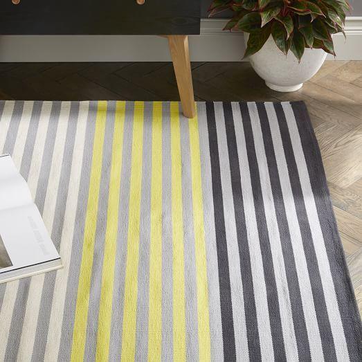 Colorstep Stripe Cotton Dhurrie Rug Black Sun Yellow