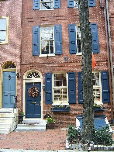 Philadelphia Blue Townhouse Exterior Shutters Brick House