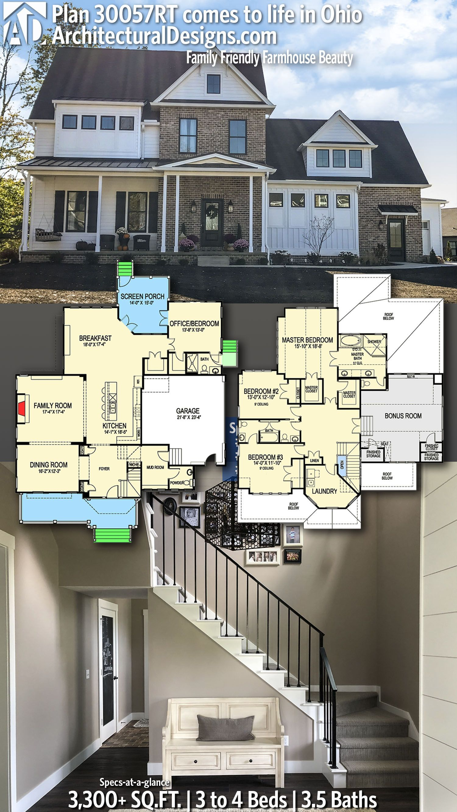 Interesting Set Of Windows In The Front In The Mud Room And Powder Bath Schlafzimmer Wohnzimmer Architectural Design House Plans House Blueprints House Plans