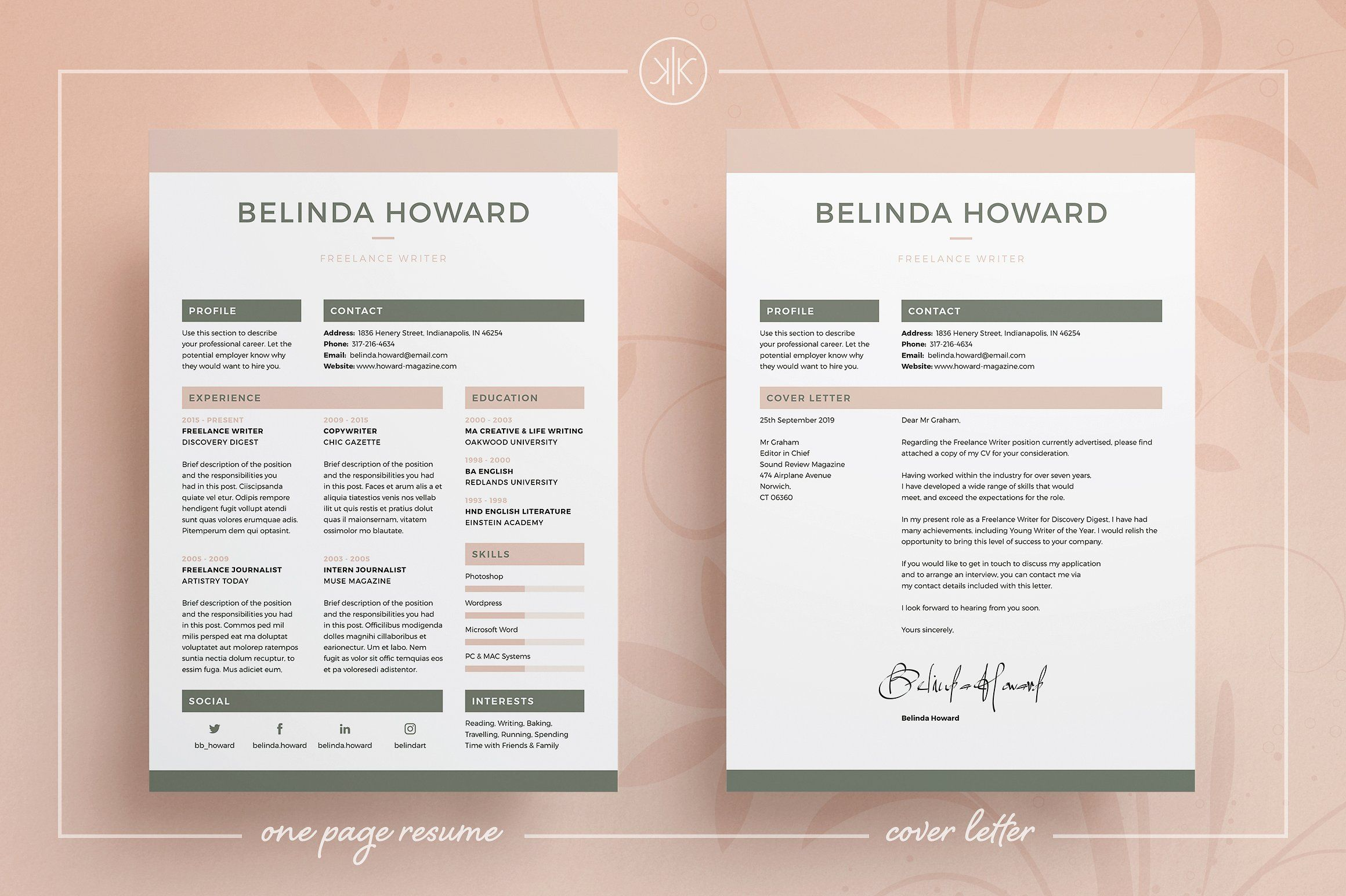 ResumeCv  Belinda By Keke Resume Boutique On Creativemarket