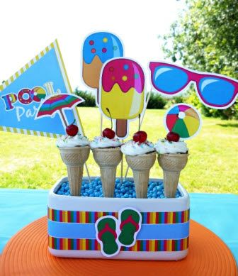 Pool Party Centerpiece Ideas summer pool party ideas planning cake idea supplies beach lifeguard Love These Printable Pool Birthday Party Decorations Poolparty Printables Partyideas