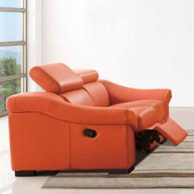 Modern Reclining Leather Loveseat In Orange Check Out Our Website Http Www Homefurnit Leather Reclining Loveseat Modern Reclining Loveseat Modern Recliner