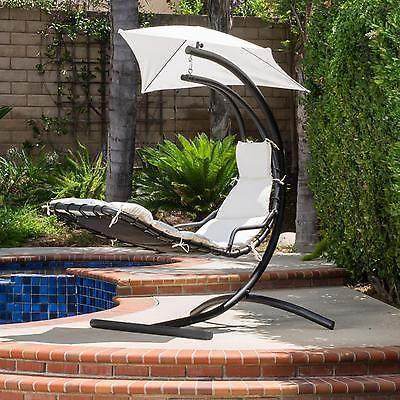 Hanging Chair Swing Steel Hammock Indoor Outdoor Patio Backyard Garden  White New