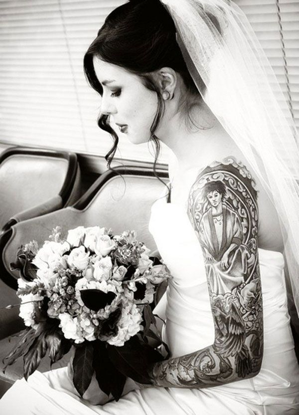 Tattooed women in wedding dresses tattooed brides for Tattoos and wedding dresses
