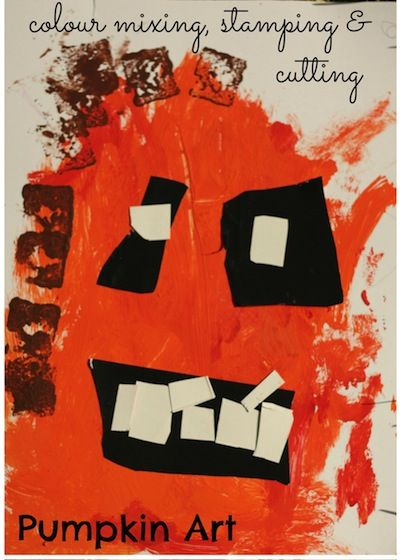 easy pumpkin art project for toddlers and preschoolers painting colour mixing stamping - Preschool Halloween Art Projects