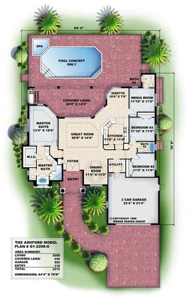 2208 sq ft Floor Plans for this set of Mediterranean style