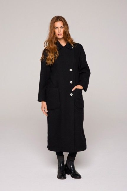 702053e025ff Long manteau droit, noir en matière double face en alpaga  manteau  long   noir  laine  lin  qualité  femme  lenerfabriquedemanteaux