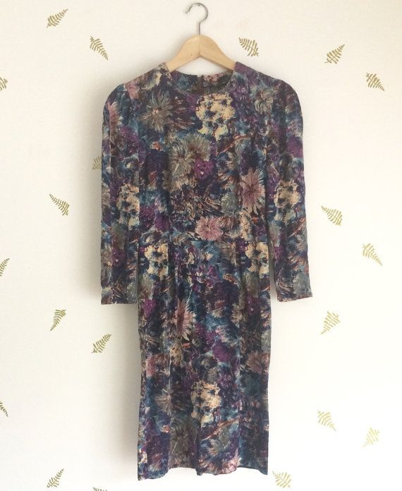 vintage 60s floral dress / wildflower fabric / blues by foxandrook