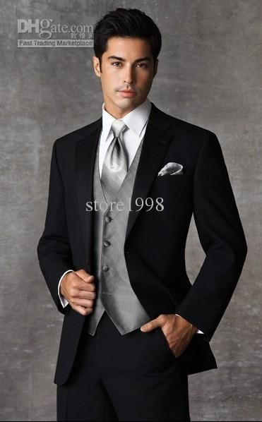 BLACK TUXEDO WITH VEST AND GREY UNDERSHIRT AND TEAL TIE - Google ...