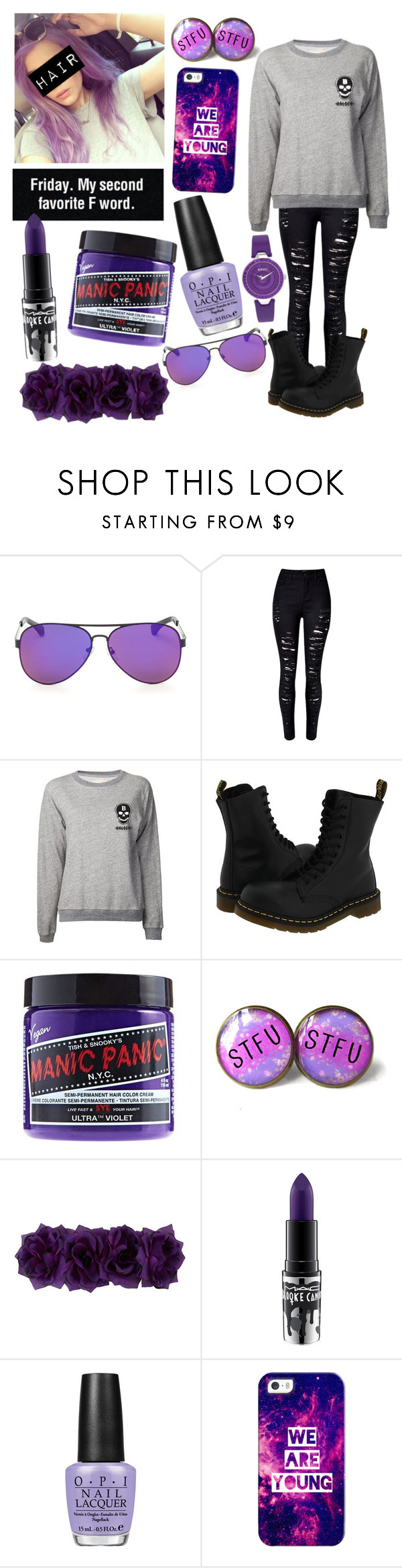 """I'm currently obsessing over purple"" by kaelahclothier on Polyvore featuring WithChic, Dr. Martens, Manic Panic, MAC Cosmetics, OPI, Casetify and Versus"