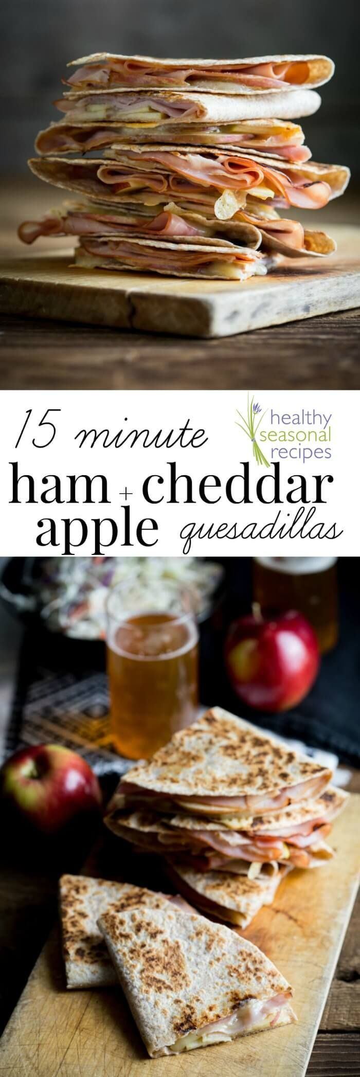 Apple ham and cheddar quesadillas images