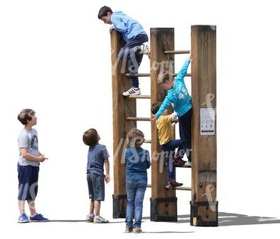 Six boys climbing on the playground