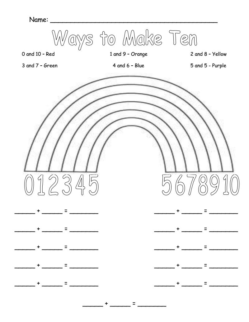 Ways To Make Ten Rainbow Worksheet Pdf Google Drive First Grade Math Math Worksheets Math Lessons [ 1035 x 800 Pixel ]