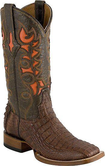 90fa06354af Ladies Resistol Ranch Cigar Hornback Caiman Boots with Orange Inlay ...