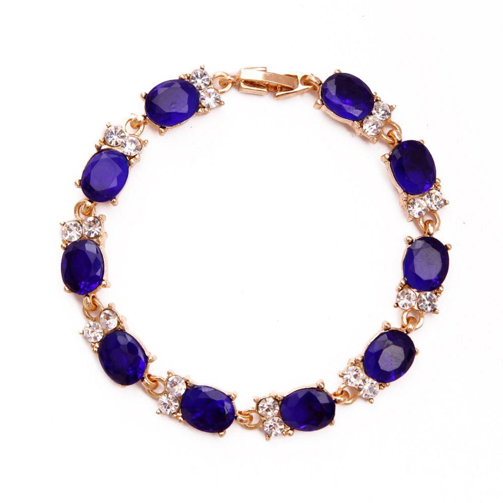 Zoshi purple luxury rose gold color chain link bracelet for women