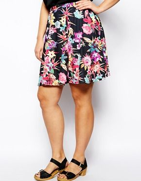 Pink Clove Floral Skater Skirt #plussizeskirts #plussizeclothes #plussizefashion #fatshion