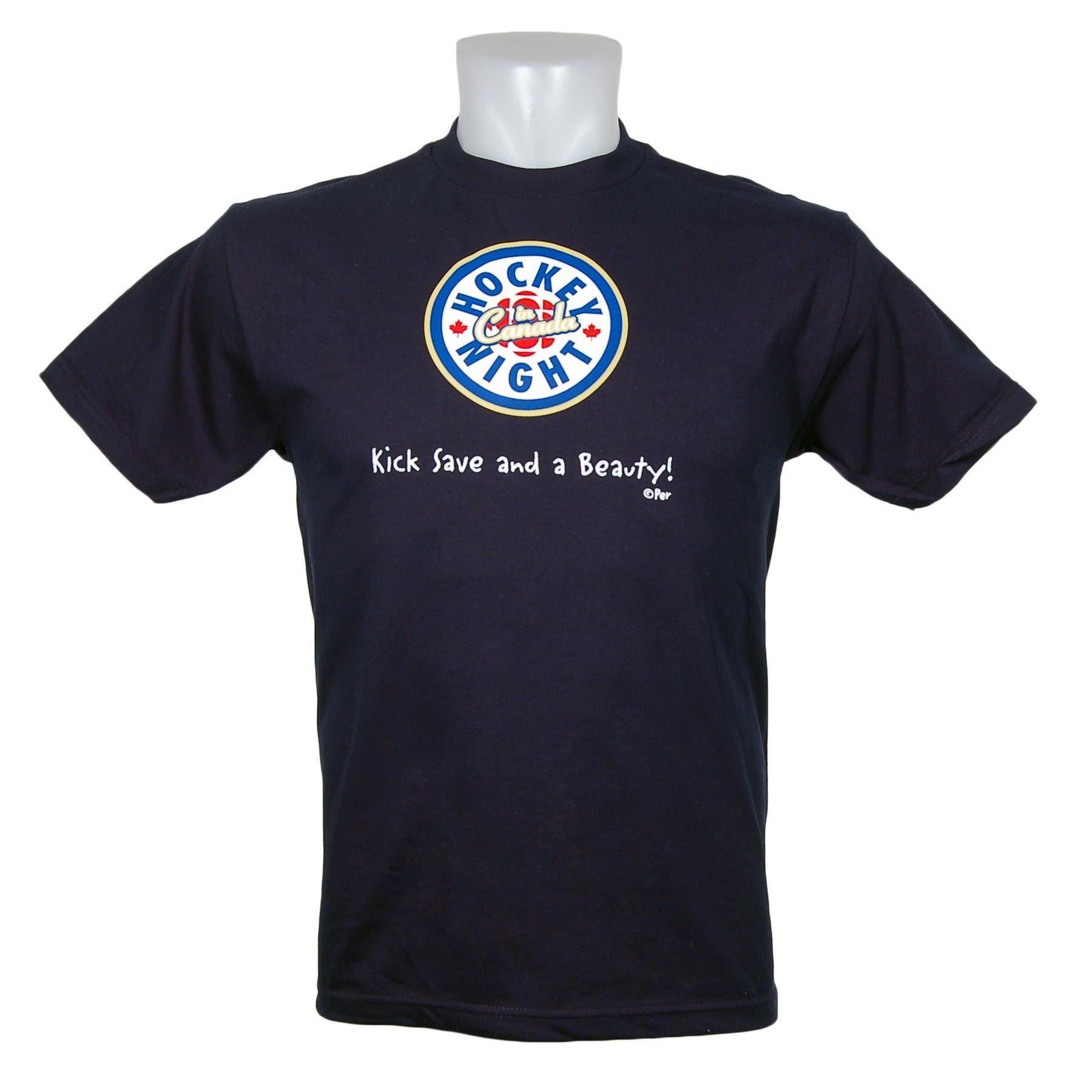 Hockey Night In Canada Kick Save And A Beauty T Shirt Navy The Classic Hnic Logo Available At Icejerseys Com Of Hockey Clothes Mens Tshirts Mens Tops