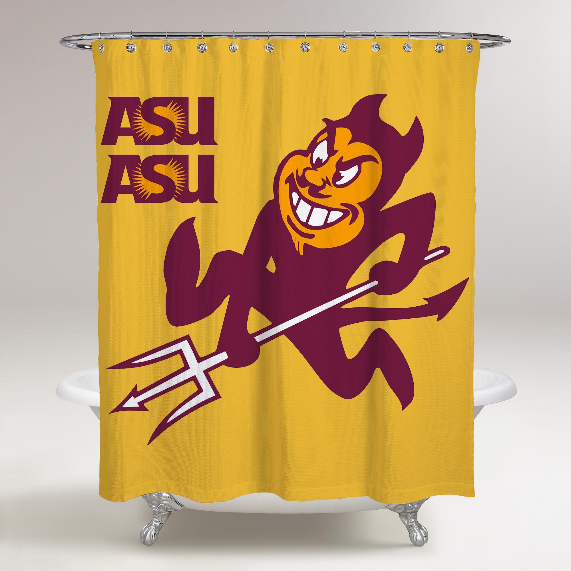Arizona State Sun Devils Logo Assu Yellow Background Printed