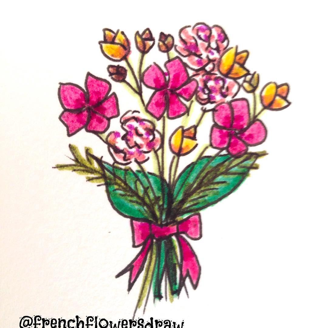 fleurs roses et jaunes ??? #draw #drawing #illustration #fleurs