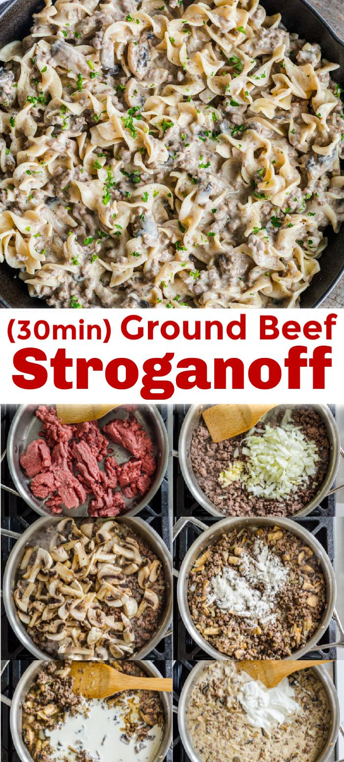 Ground beef stroganoff is an easy 30 minute one-pan dinner. All the great flavors of stroganoff made even easier using ground beef.