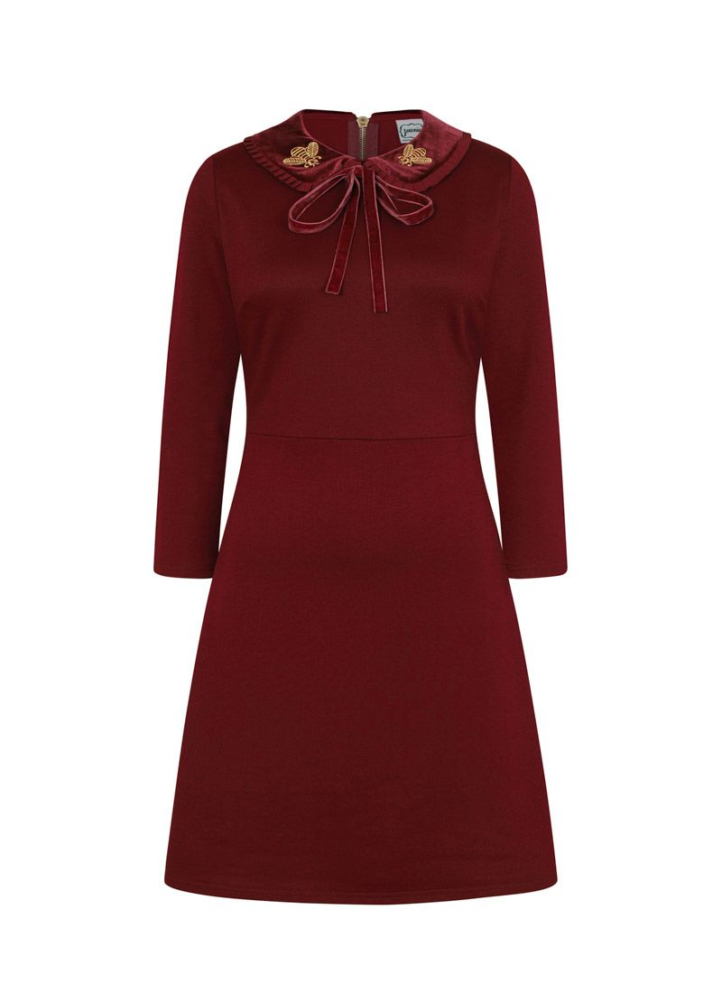 bd3255cff74b4d The Loretta Embroidered Bee Collar Dress is a cabernet jersey dress with a  velvet peter pan collar, golden exposed zip and embroidered bee detail.