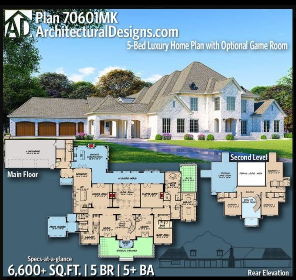 Plan 70601mk 5 Bed Luxury Home Plan With Optional Game Room Luxury House Plans House Plans Mansion Floor Plan