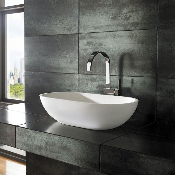 Bathroom Decor Countertop Flow Pure White Stone Resin 650mm X
