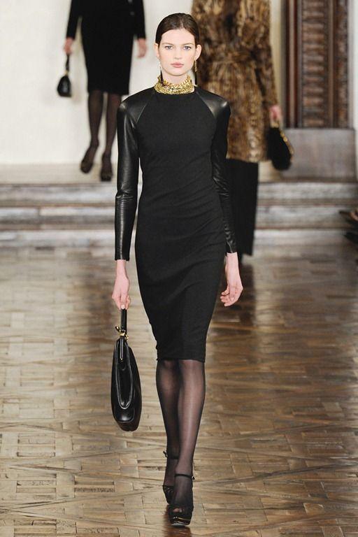 Ralph Lauren Black Dress W Leather Sleeves