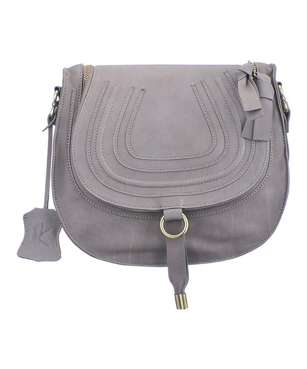 Gray Bonita Leather Shoulder Bag