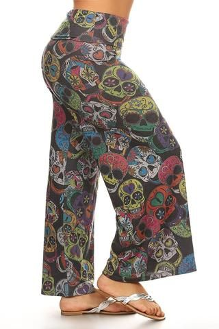2976d372ad0 Plus Size Sugar Skull Wide Leg Relaxed Palazzo Pants U.S.A
