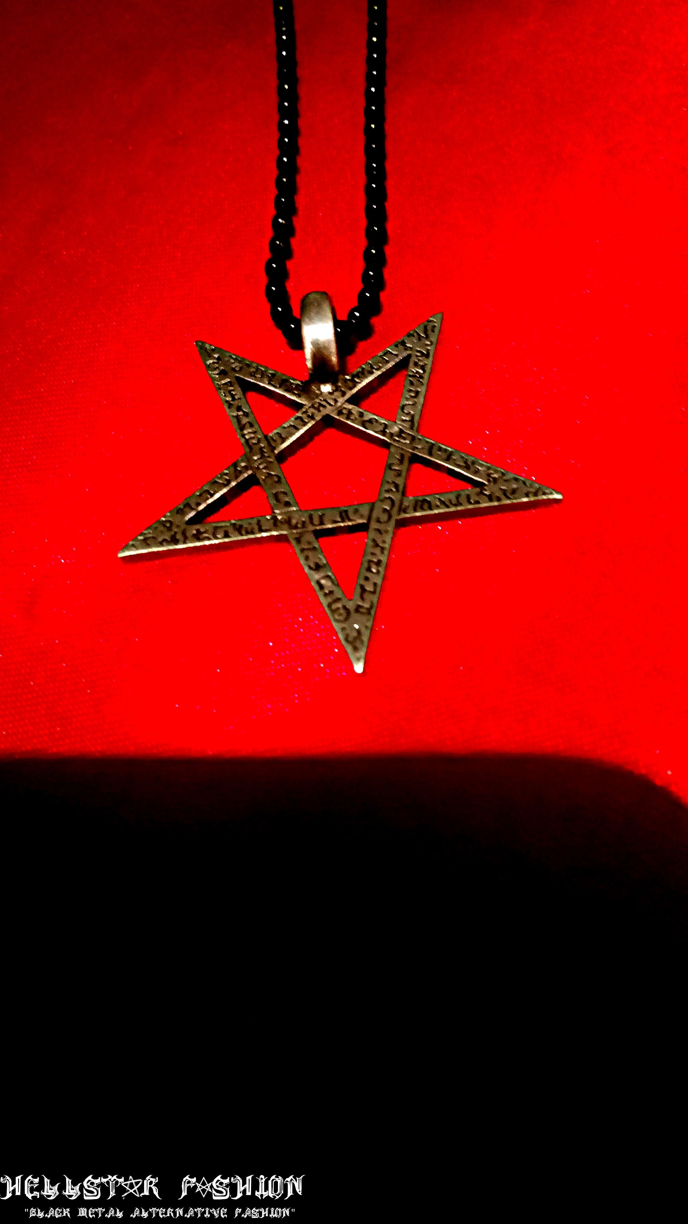 Demonic scripted inverted 5 pointed star pentagram pentacle satanic demonic scripted inverted 5 pointed star pentagram pentacle satanic ritual occult magick pendant necklace 1 buycottarizona Gallery