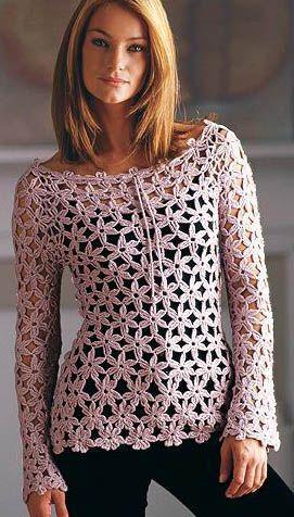 0af58c875 Crochetemoda  Blusa Manga Longa Rosa de Crochet