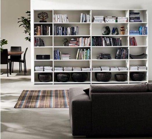 Cool 49 Simple But Smart Living Room Storage Ideas : 49 Smart Living Room  Storage Ideas With White Wall Wooden Bookcase Sofa Pillow Carpet Ceramic  Floor ...