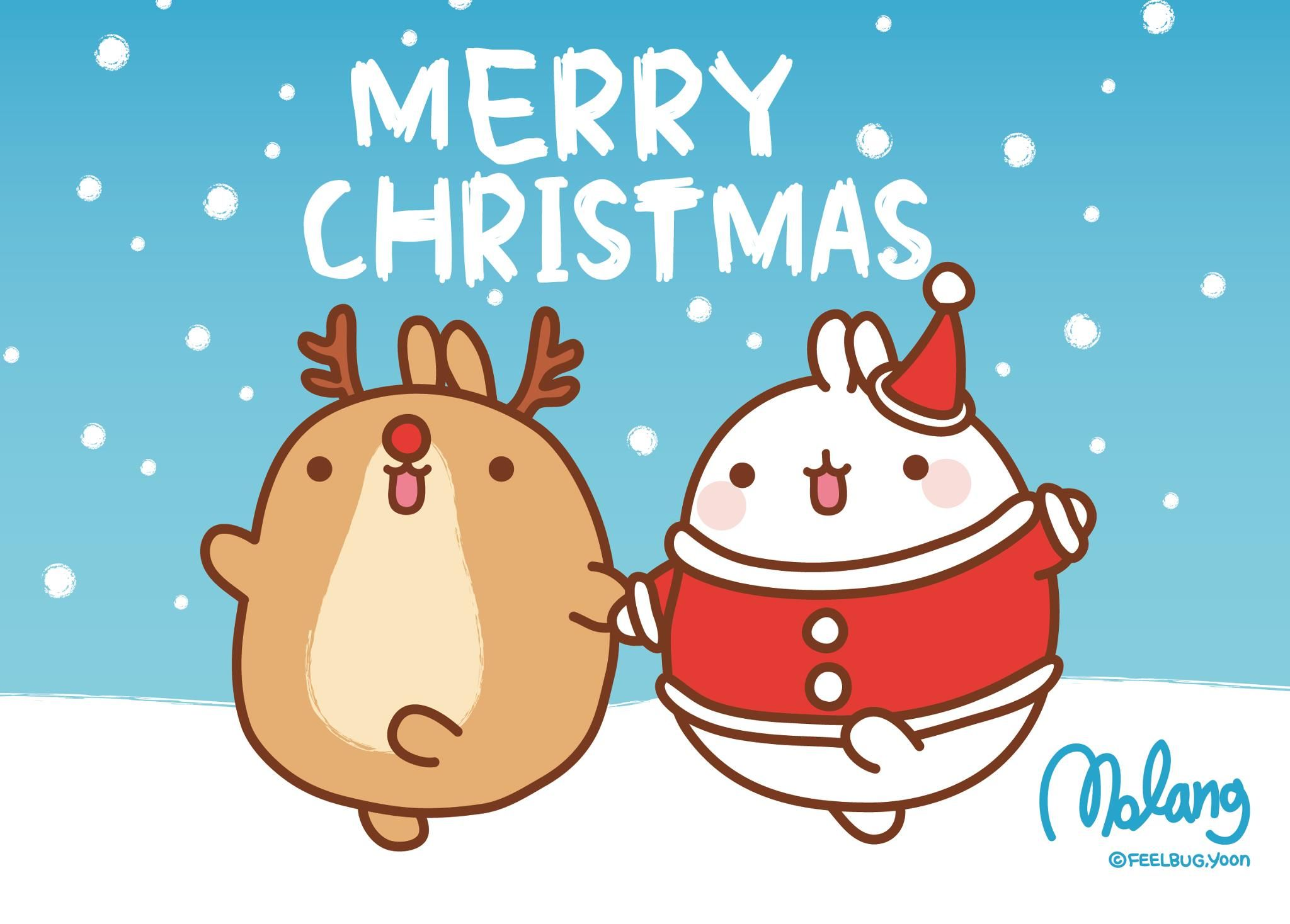 San,X Molang Christmas Desktop Wallpapers , Here are 3 super cute Molang Desktop Backgrounds for Christmas! Click each image to be taken to the full size