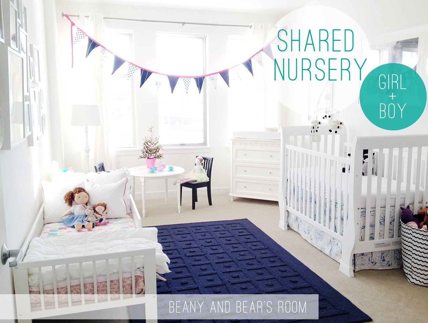 Boy And Girl Shared Nursery Blue Pink Happy Kids Rooms