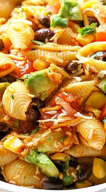 Taco Pasta Salad Filled With Black Beans Corn Cilantro Avocados And Tomatoes It S Tossed In A Vinaigrette Sprinkled Cheese