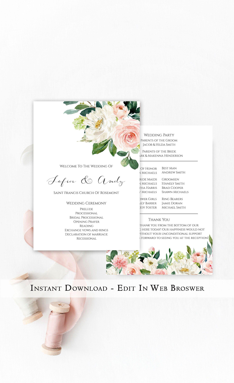 Watercolor Flower TEMPLETT PDF Jpeg #SPP066pr Ceremony Printable Template Printable Wedding Program Blush Floral Wedding Program Template